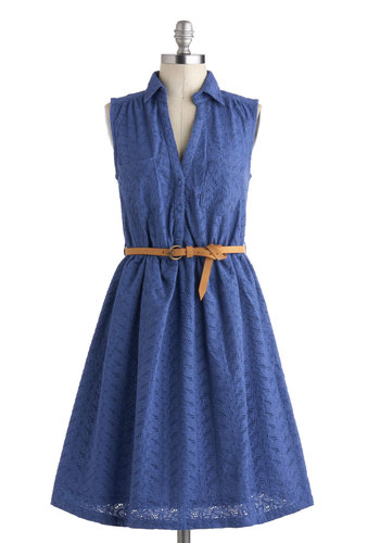Colt Weather Dress by Bibico - International Designer, Cotton, Mid-length, Blue, Solid, Buttons, Eyelet, Pockets, Belted, Casual, Sleeveless, Collared, A-line, Shirt Dress, Eco-Friendly