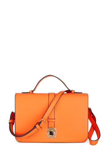Color Me Bright Bag - Orange, Solid, Neon, Work, Casual, Faux Leather