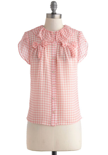 Strawberry Sherbet Punch Top - Pink, White, Checkered / Gingham, Bows, Buttons, Peter Pan Collar, Work, Vintage Inspired, Pastel, Short Sleeves, Collared