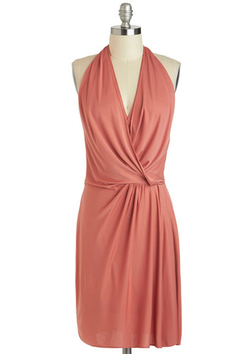 Could It Be True? Dress - Solid, Party, Halter, Spring, Long, Backless, Sheath / Shift, V Neck, Pink, Ruching, Cocktail
