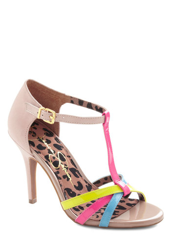 Lively Introduction Heel - Multi, Neon, Strappy, High, Leather, Yellow, Blue, Pink, Tan / Cream, Prom, Party, Girls Night Out
