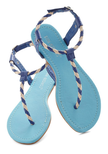 Full Deck Sandal - Braided, Beach/Resort, Flat, Blue, White, Stripes, Casual, Nautical, Summer, Travel