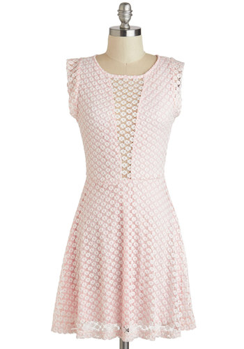 Cotton Candy Carnival Dress - Short, Pink, White, Lace, Daytime Party, A-line, Sleeveless, Scoop, Pastel, Sheer