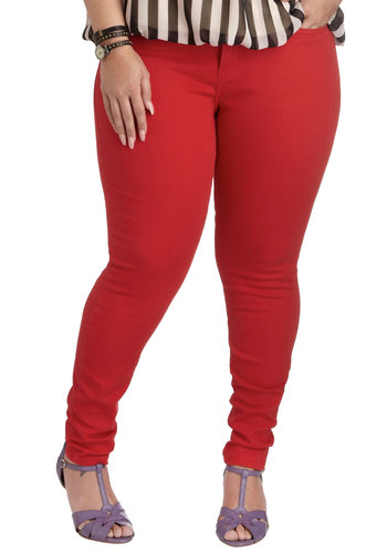 Art Show Exhibit Jeans in Plus Size by Levi's - Cotton, Red, Solid, Casual, Skinny, Denim, Fall