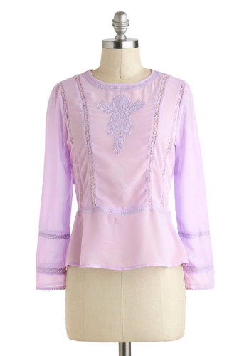 Cafe Casual Top - Sheer, Short, Purple, Solid, Embroidery, Lace, Long Sleeve, Pastel