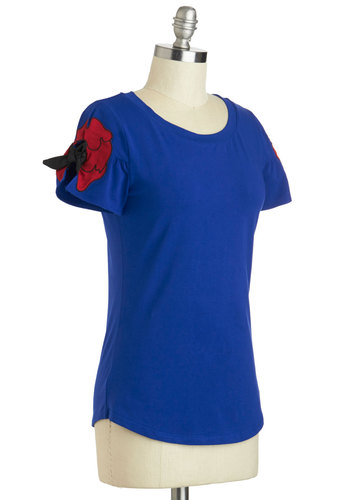 Touring Telegraph Hill Top - Blue, Red, Casual, Short Sleeves, Cotton, Mid-length, Summer