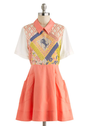 Bridle Bliss Dress - Pink, Multi, Peter Pan Collar, Casual, A-line, Short Sleeves, Collared, International Designer, Cotton, Short, Print, Pockets, Print with Animals