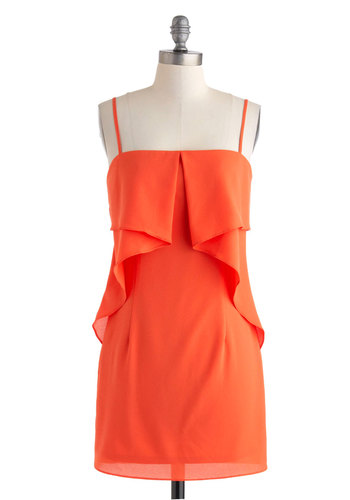Tango for It! Dress - Solid, Ruffles, Cocktail, Spaghetti Straps, Short, Orange, Sheath / Shift, Party, Mini, Summer