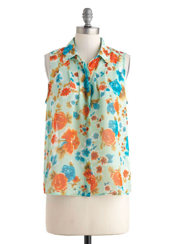 Gardening Tips Top - Red, Blue, Floral, Buttons, Sleeveless, Sheer, Mid-length, Multi, Casual, Button Down, Collared, Summer