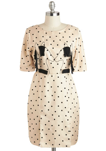 Saddle-day Night Dress - Black, Polka Dots, Print with Animals, Party, A-line, Short Sleeves, International Designer, Quirky, Scoop
