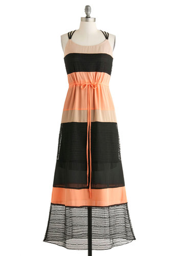 Ginger Spicy Dress - Orange, Tan / Cream, Black, Casual, Colorblocking, Maxi, Spring, Long, Lace, Belted, Scoop, Stripes, Daytime Party, Beach/Resort, Racerback, Summer, Sheer
