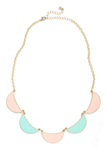 Ice Cream Parlor Pretty Necklace - Gold, Solid, Pastel, Pink, Mint, Scallops