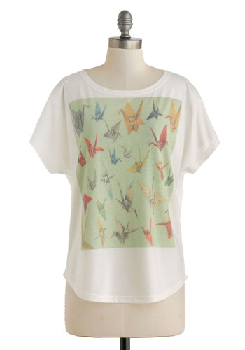 Origami With the Wind Tee by Pink Martini - White, Red, Yellow, Green, Blue, Casual, Short Sleeves, Mid-length, Novelty Print, Summer, White, Short Sleeve