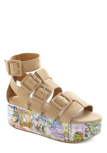 Decoupage Turner Sandal by Jeffrey Campbell - Tan, Multi, Buckles, Cutout, Quirky, Wedge, Mid, Platform, Novelty Print, Casual, Leather, Summer
