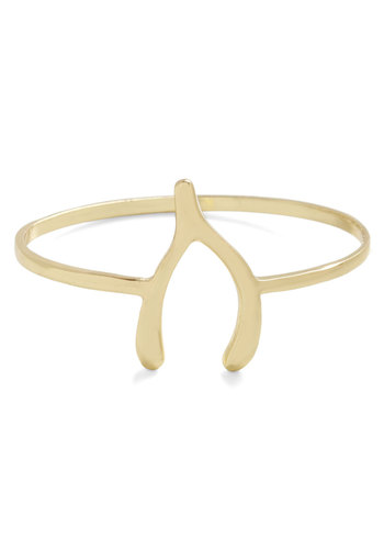 As You Wishbone Bracelet - Gold, Solid, Gold