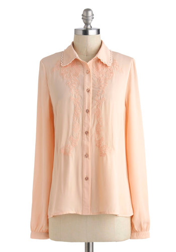 Estate and Main Top - Pink, Solid, Buttons, Embroidery, Work, Vintage Inspired, High-Low Hem, Long Sleeve, Collared, Sheer, Mid-length, Pastel