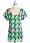 Herald in Mod Top - Sheer, Mid-length, Green, Blue, Pink, Tan / Cream, Print, Short Sleeves, Pockets, Casual, Scoop