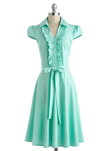 About the Artist Dress in Mint - Cotton, Summer, Mint, Solid, Buttons, Ruffles, Belted, Casual, A-line, Cap Sleeves, Collared, Vintage Inspired, 50s, Pastel, Spring, Variation, Pinup, Long