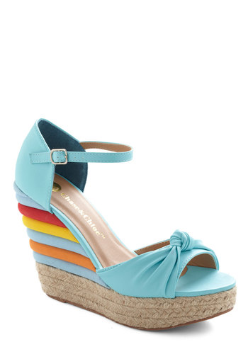 A Treat for All Wedge - Blue, Multi, Daytime Party, High, Platform, Wedge, Peep Toe, Party, Summer