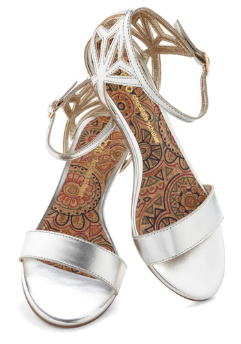 Spring Gleaming Sandal - Silver, Solid, Cutout, Wedge, International Designer, Low, Casual, Daytime Party, Summer