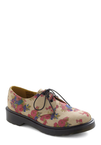 Fleur Corners Flat by Dr. Martens - Multi, Floral, Lace Up, Leather, Low, Casual, Menswear Inspired, Vintage Inspired, 90s