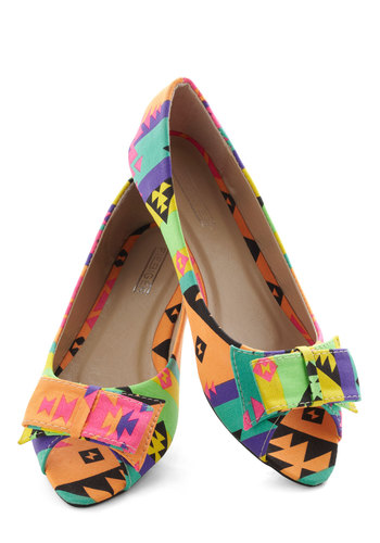 Neon the Road Flat - Flat, Multi, Print, Bows, International Designer, Neon