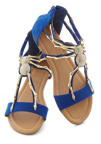 We Arachnid to Talk Sandal - Flat, Blue, Gold, Print with Animals, Rhinestones, Statement, Quirky