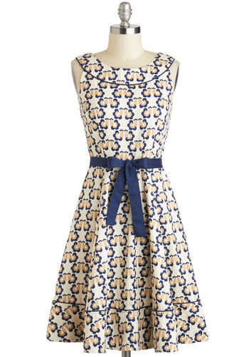 Farmhouse Warming Dress by People Tree - International Designer, Cotton, Mid-length, Cream, Blue, Tan / Cream, Print with Animals, Belted, Daytime Party, A-line, Sleeveless, Boat, Eco-Friendly
