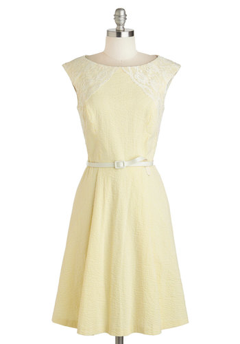 Well Yellow Dolly Dress - Yellow, Stripes, Lace, Vintage Inspired, Sleeveless, Spring, Cotton, Mid-length, White, Cutout, Pockets, Daytime Party, A-line, Boat, Belted, Prom, Bridesmaid
