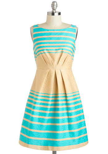 Wake My Day Dress - Tan / Cream, Pastel, Stripes, A-line, Sleeveless, Spring, Daytime Party, Cotton, Mid-length, Blue, Pleats, Boat, Graduation