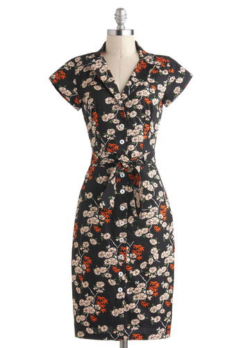 Bloom by Moonlight Dress - International Designer, Cotton, Long, Black, Multi, Floral, Buttons, Pockets, Belted, Casual, Shift, Short Sleeves, Collared