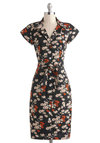 Bloom by Moonlight Dress - International Designer, Cotton, Long, Black, Multi, Floral, Buttons, Pockets, Belted, Casual, Sheath / Shift, Short Sleeves, Collared