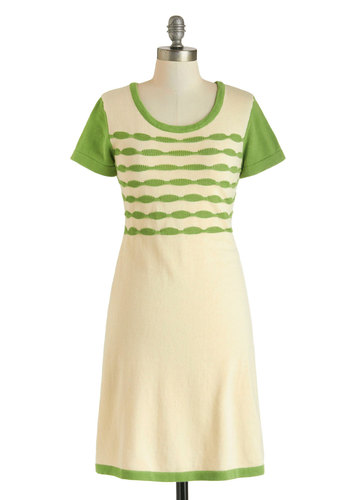 Grassy Hilltop Glam Dress - Cream, Green, Casual, Short Sleeves, Spring, Mid-length, Cotton, Knitted, Sheath / Shift, Scoop, Print, Winter