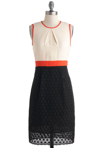 Pick Up the Lace Dress by Pink Martini - Orange, Black, White, Lace, Party, Colorblocking, Twofer, Sleeveless, Mid-length, Crew, Work