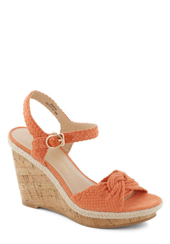 A Tropical Kick Wedge - Orange, Wedge, International Designer, Solid, Trim, Espadrille, Braided, Daytime Party, Beach/Resort, Summer