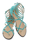 Crossing Waters Sandal in Aqua by Joe's Jeans Footwear - Blue, Solid, Flat, Strappy, Leather, Casual, Daytime Party, Beach/Resort, Spring, Summer, Suede, Variation