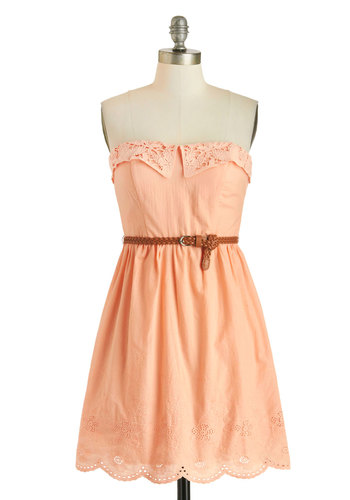 Made for Peach Other Dress - Cotton, Solid, Crochet, Scallops, Belted, Casual, A-line, Strapless, Sweetheart, Orange, Spring, Summer