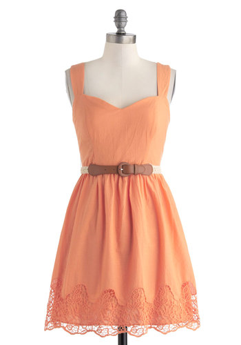 Bright Disposition Dress - Orange, Solid, Crochet, Belted, Casual, A-line, Tank top (2 thick straps), Sweetheart, Cutout, Boho