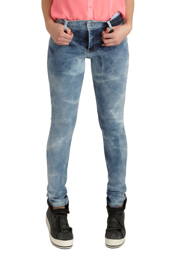 "Bold Stand-by Jeans in Acid Wash (32"") by Cheap Monday - Blue, White, Pockets, Casual, Skinny, Denim, Cotton, Tie Dye, Vintage Inspired, 80s, Urban"