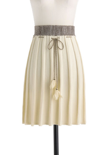 Summit Serenity Skirt by Nick & Mo - Cream, Brown, Solid, Flower, Casual, Boho, A-line, Mid-length, Pleats, Daytime Party