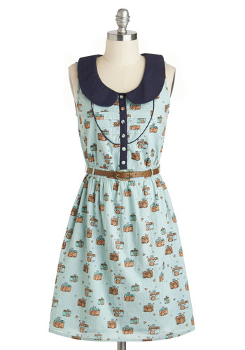 Write Balance Dress by Yumi - Blue, Novelty Print, Peter Pan Collar, Casual, Vintage Inspired, Shirt Dress, Sleeveless, Spring, Belted, Mid-length, Multi, Buttons, Collared, Travel