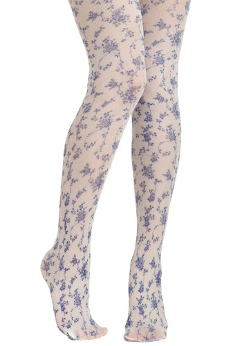 Roses Are Blue Tights - Floral, French / Victorian, Blue, White, Daytime Party, Knit