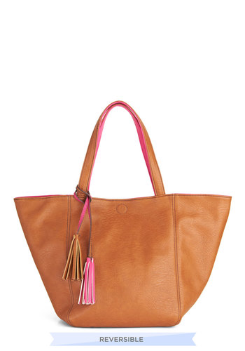 What's Inside Counts Bag - Pink, Brown, Solid, Tassles, Work, Casual, Faux Leather, Beach/Resort