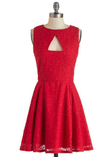 Ruby Night Dress by Jack by BB Dakota - Red, Solid, Buttons, Cutout, Lace, Party, A-line, Sleeveless, Crew, Mid-length