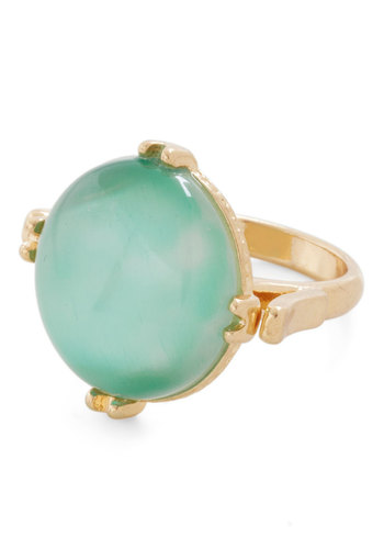 Opt for Optimism Ring - Mint, Solid, Statement, Gold