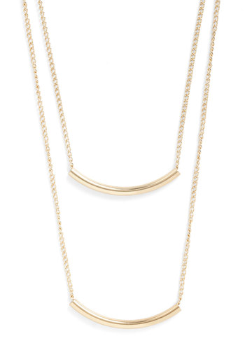 Quite a Swing Set Necklace - Gold, Solid, Tiered, Minimal, Gold