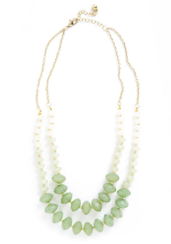 Fields of Gleam Necklace - Green, Gold, Solid, Beads, Tiered, Statement, Party, 60s, Bridesmaid