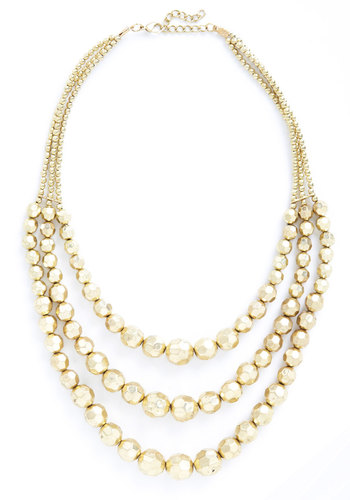 Dare to Disco Necklace - Gold, Solid, Beads, Tiered, Statement, Bridesmaid