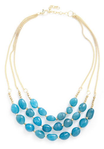 Better Lake Than Never Necklace - Blue, Gold, Solid, Beads, Tiered, Statement, Bridesmaid