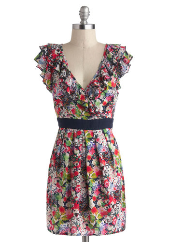 Estivate in Style Dress - Cotton, Short, Multi, Floral, Ruffles, Party, Shift, V Neck, Pockets, Cap Sleeves, Spring